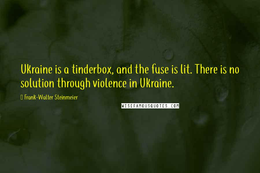 Frank-Walter Steinmeier quotes: Ukraine is a tinderbox, and the fuse is lit. There is no solution through violence in Ukraine.