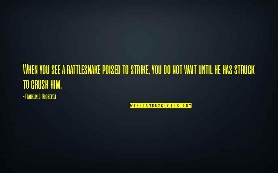 Franklin Roosevelt Quotes By Franklin D. Roosevelt: When you see a rattlesnake poised to strike,