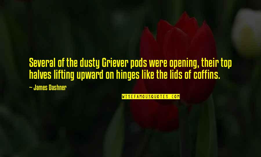 Fransua Laroshfuko Quotes By James Dashner: Several of the dusty Griever pods were opening,