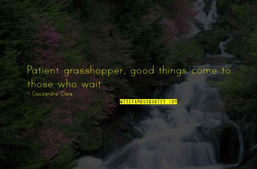 Fray Quotes By Cassandra Clare: Patient grasshopper, good things come to those who