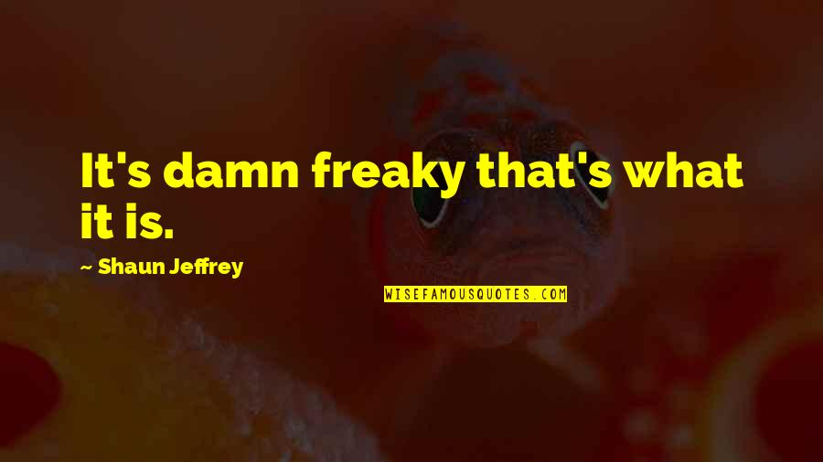Freaky Quotes By Shaun Jeffrey: It's damn freaky that's what it is.