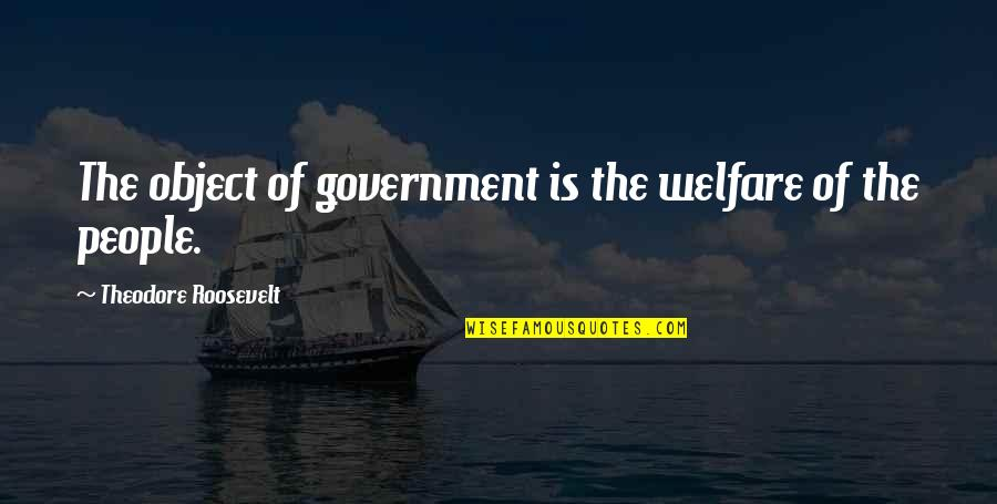 Fred Wah Diamond Grill Quotes By Theodore Roosevelt: The object of government is the welfare of