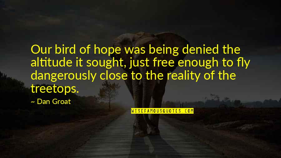 Free Fly Quotes By Dan Groat: Our bird of hope was being denied the
