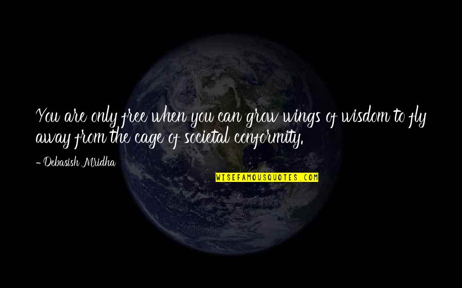 Free Fly Quotes By Debasish Mridha: You are only free when you can grow