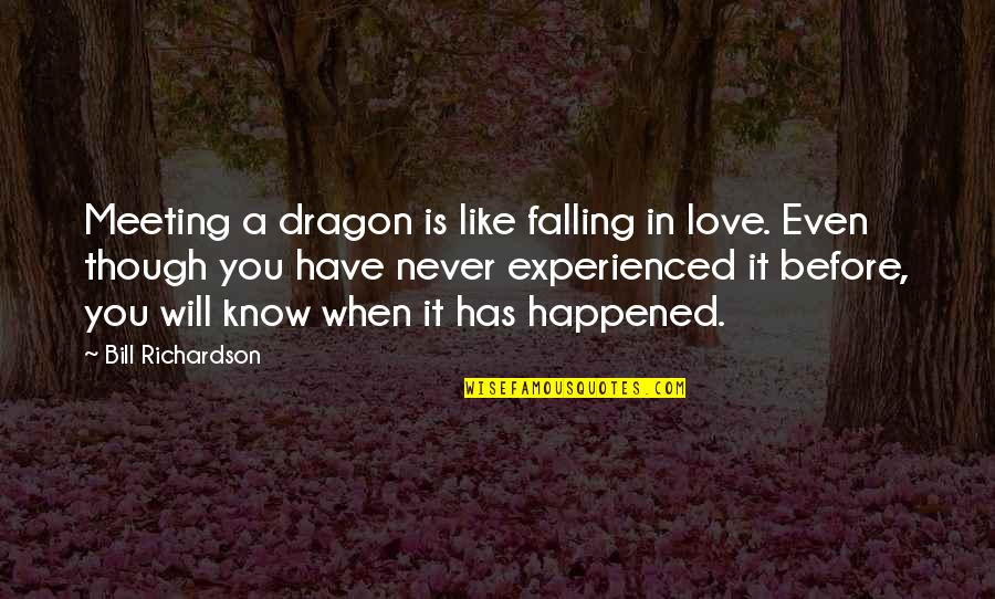 Free Friendship Sayings And Quotes By Bill Richardson: Meeting a dragon is like falling in love.