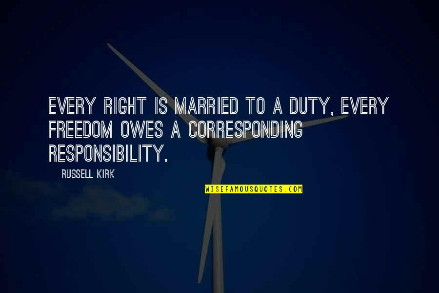 Freedom And Responsibility Quotes By Russell Kirk: Every right is married to a duty, every