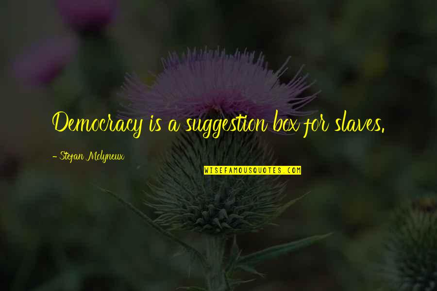 Freedom Of Slaves Quotes By Stefan Molyneux: Democracy is a suggestion box for slaves.