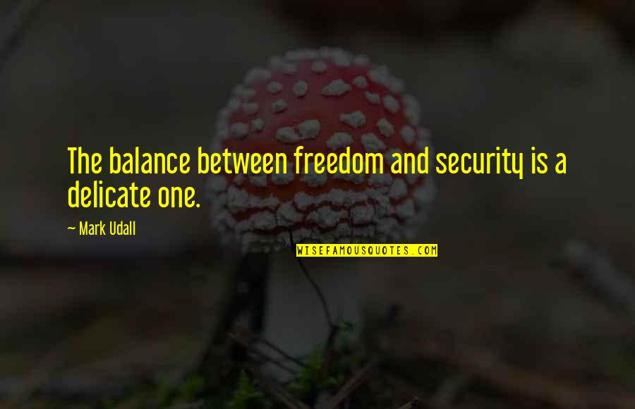 Freedom Over Security Quotes By Mark Udall: The balance between freedom and security is a