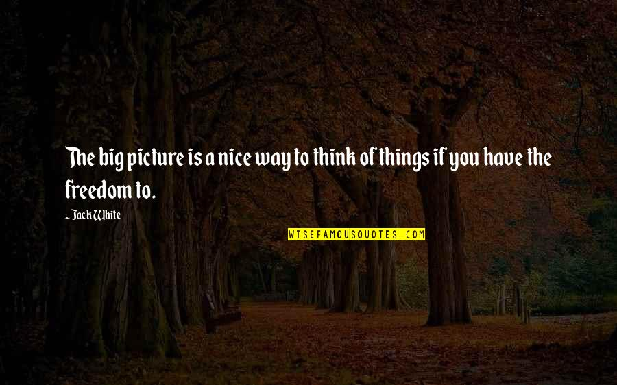 Freedom To Think Quotes By Jack White: The big picture is a nice way to