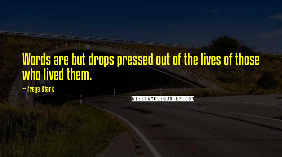 Freya Stark quotes: Words are but drops pressed out of the lives of those who lived them.