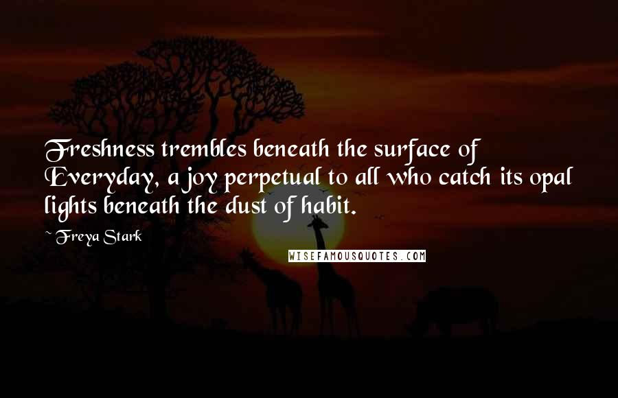 Freya Stark quotes: Freshness trembles beneath the surface of Everyday, a joy perpetual to all who catch its opal lights beneath the dust of habit.