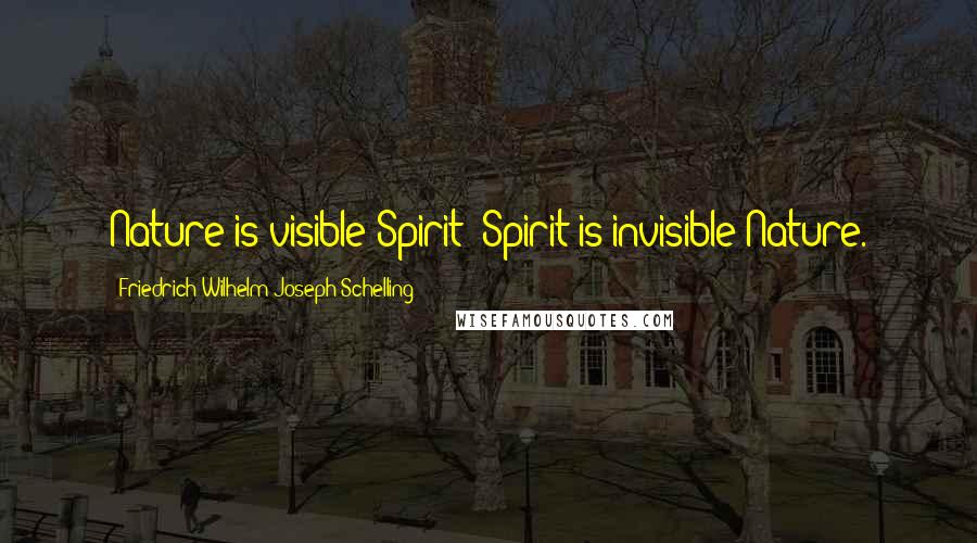 Friedrich Wilhelm Joseph Schelling quotes: Nature is visible Spirit; Spirit is invisible Nature.