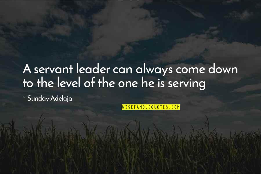 Frien Quotes By Sunday Adelaja: A servant leader can always come down to