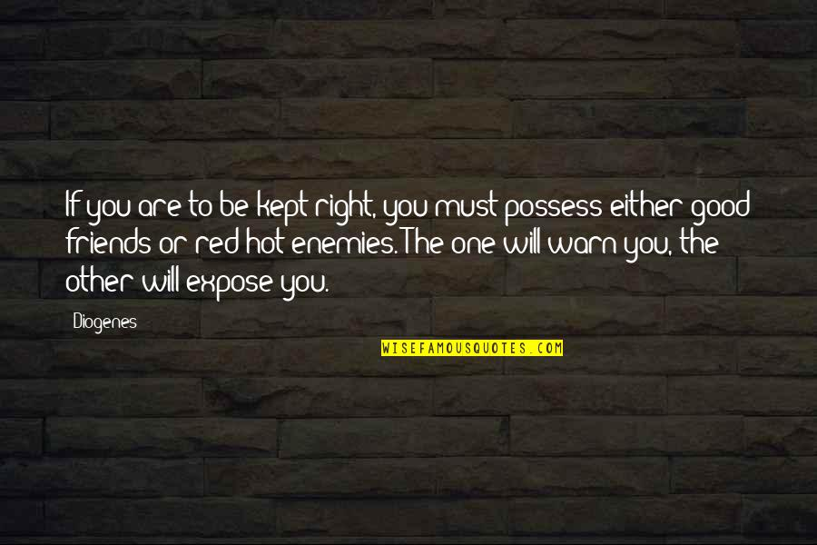 Friend Or Enemy Quotes By Diogenes: If you are to be kept right, you