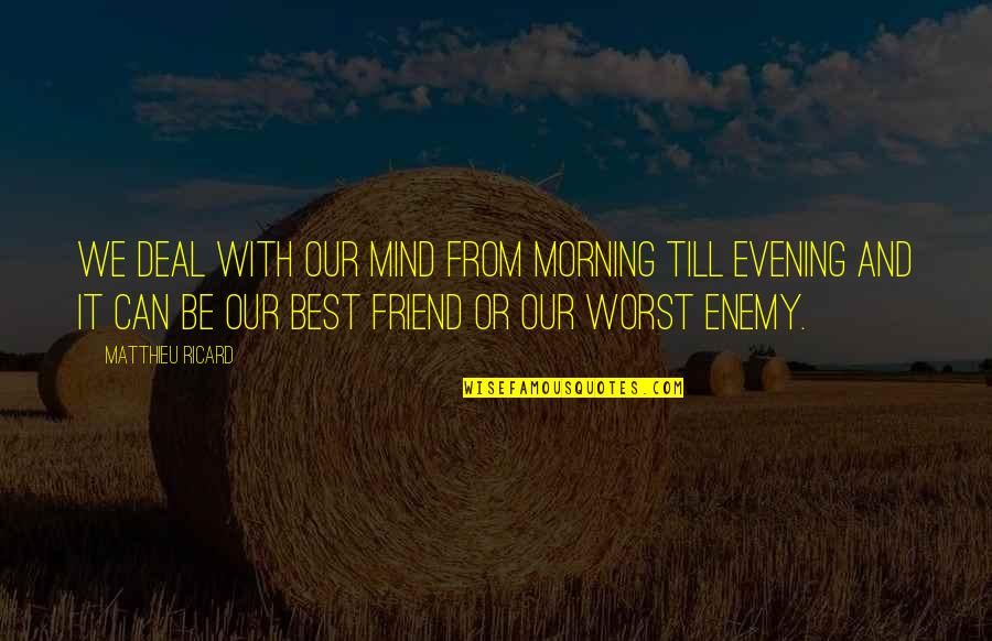 Friend Or Enemy Quotes By Matthieu Ricard: We deal with our mind from morning till