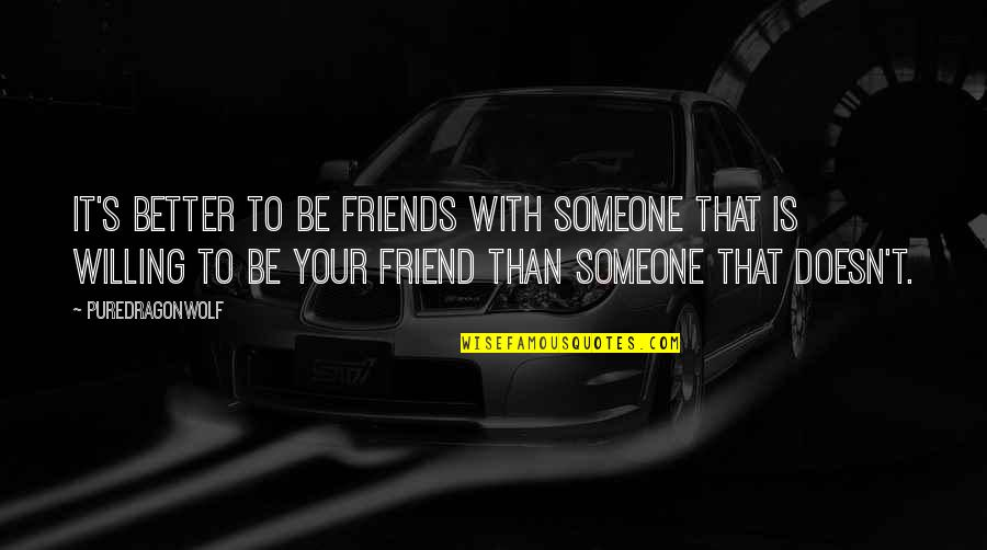 Friends And Goals Quotes By PureDragonWolf: It's better to be friends with someone that