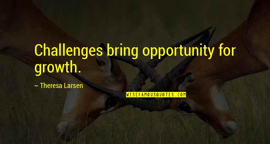 Friends And Thanksgiving Quotes By Theresa Larsen: Challenges bring opportunity for growth.
