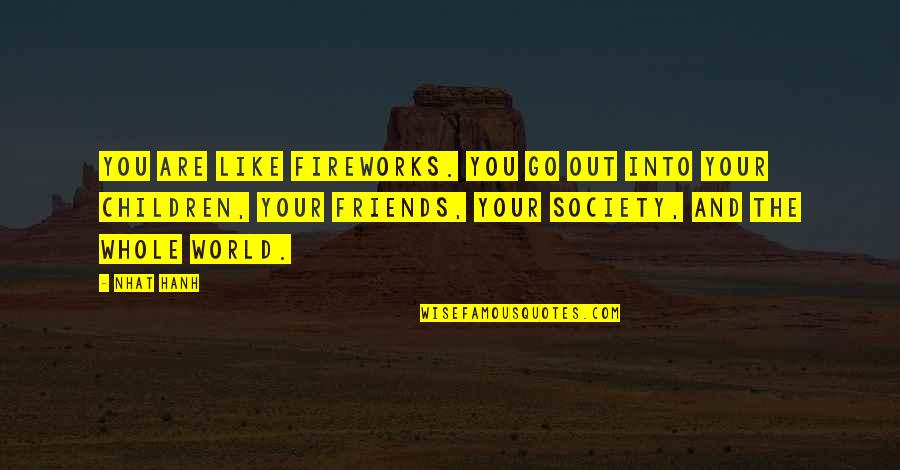 Friends And The World Quotes By Nhat Hanh: You are like fireworks. You go out into