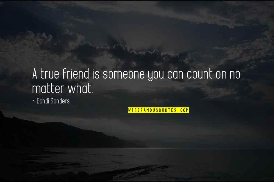 Friends That You Can Count On Quotes By Bohdi Sanders: A true friend is someone you can count