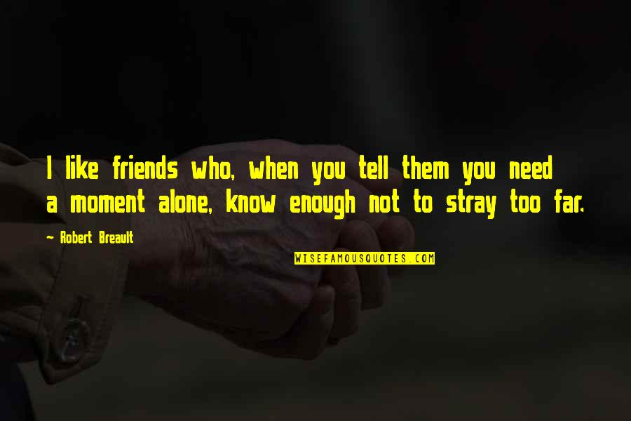 Friends Who Needs Them Quotes By Robert Breault: I like friends who, when you tell them