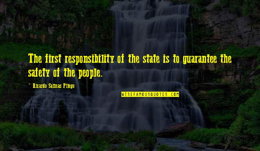 Friendship And Footsteps Quotes By Ricardo Salinas Pliego: The first responsibility of the state is to