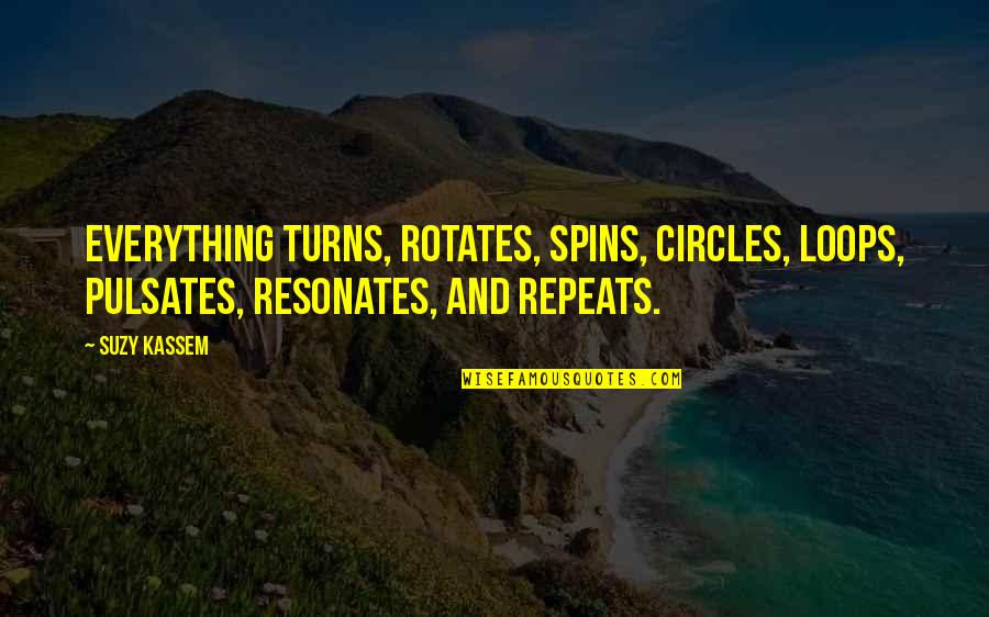 Friendship And Footsteps Quotes By Suzy Kassem: Everything turns, rotates, spins, circles, loops, pulsates, resonates,