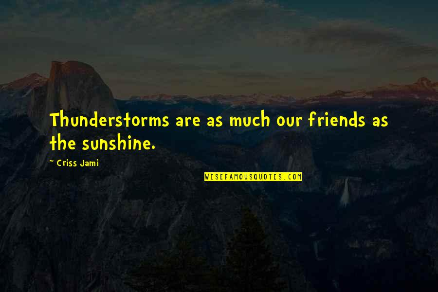 Friendship Challenges Quotes By Criss Jami: Thunderstorms are as much our friends as the