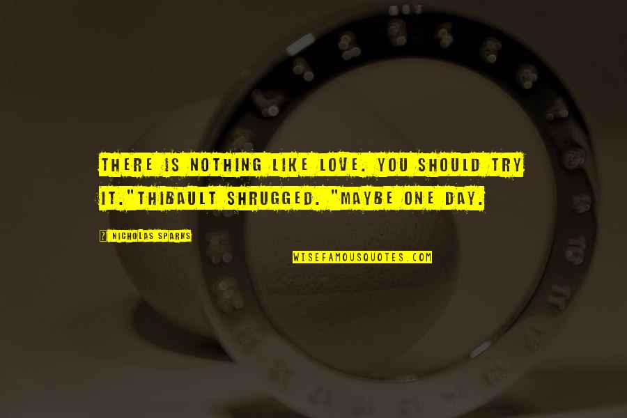 Frightend Quotes By Nicholas Sparks: There is nothing like love. You should try