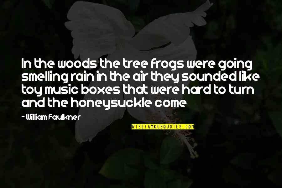 Frogs And Rain Quotes By William Faulkner: In the woods the tree frogs were going