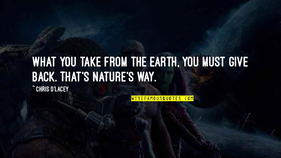 From Nature Quotes By Chris D'Lacey: What you take from the earth, you must