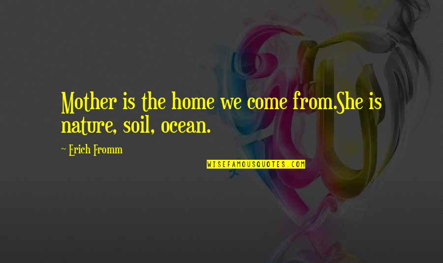 From Nature Quotes By Erich Fromm: Mother is the home we come from.She is