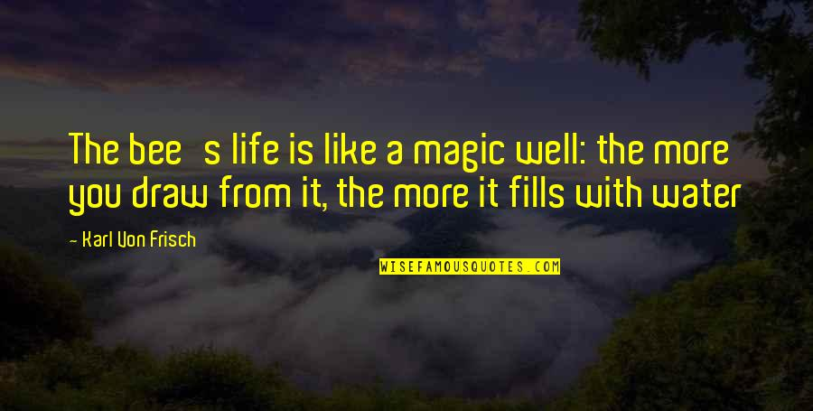 From Nature Quotes By Karl Von Frisch: The bee's life is like a magic well: