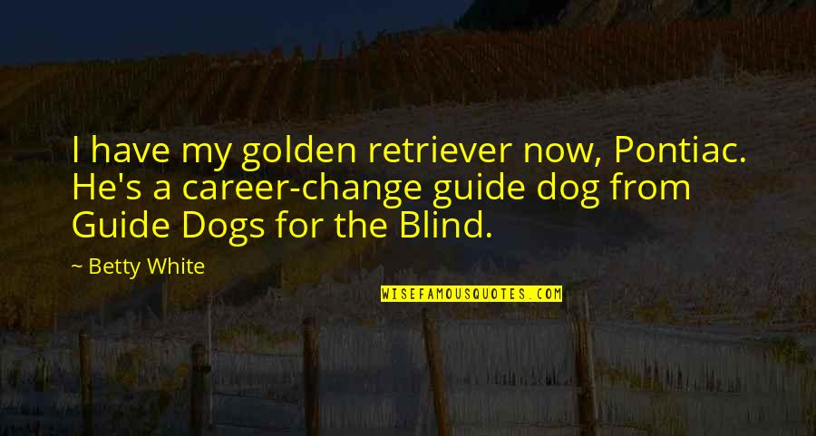 From The Dog Quotes By Betty White: I have my golden retriever now, Pontiac. He's