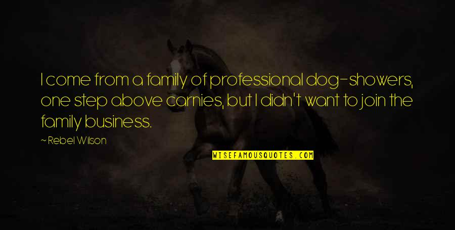 From The Dog Quotes By Rebel Wilson: I come from a family of professional dog-showers,