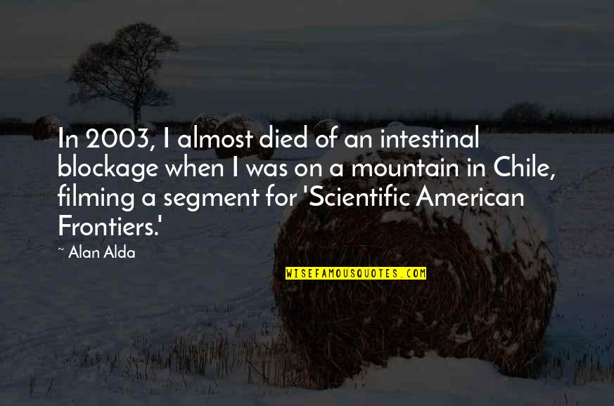 Frontiers Quotes By Alan Alda: In 2003, I almost died of an intestinal