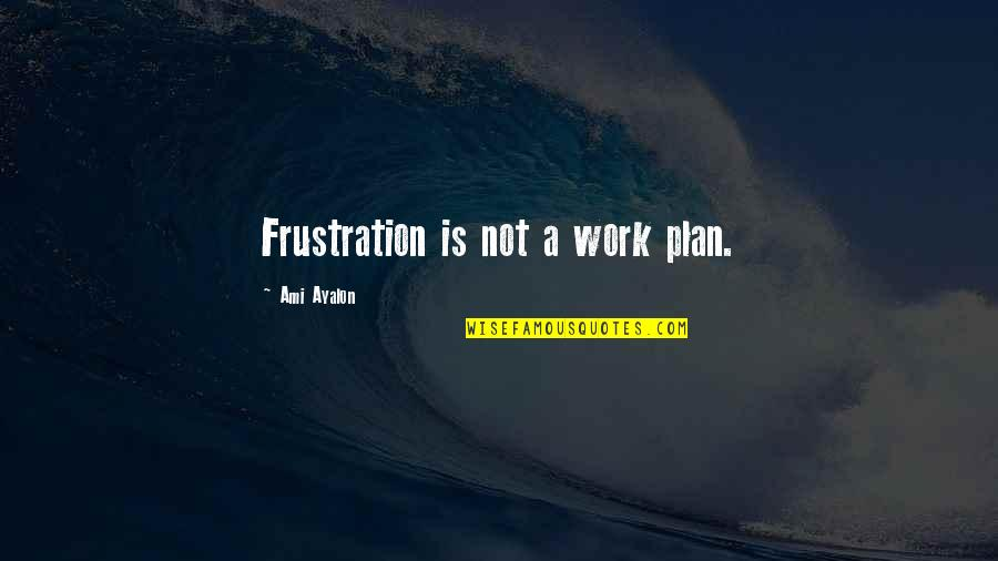Frustration In Work Quotes By Ami Ayalon: Frustration is not a work plan.