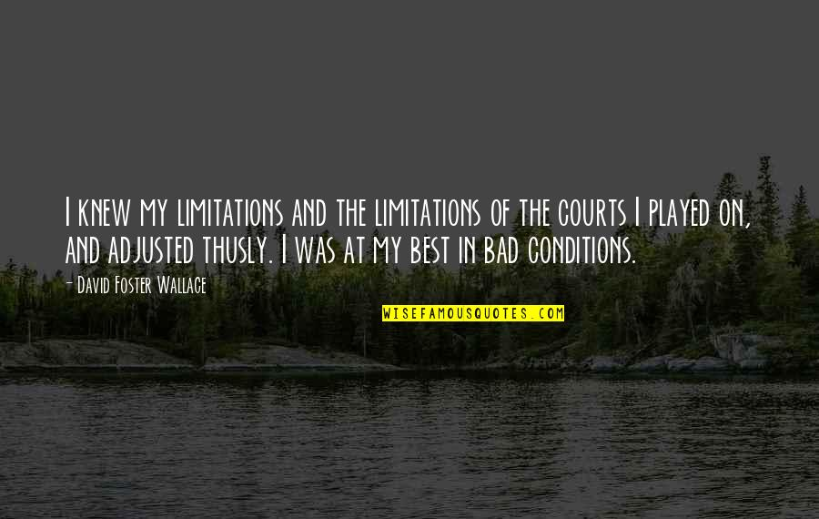 Fulcrum Quotes By David Foster Wallace: I knew my limitations and the limitations of
