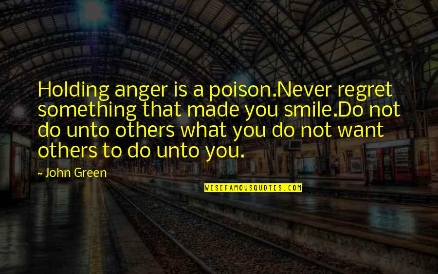 Fulcrum Quotes By John Green: Holding anger is a poison.Never regret something that