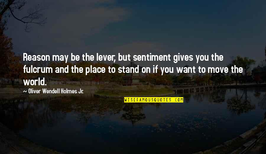 Fulcrum Quotes By Oliver Wendell Holmes Jr.: Reason may be the lever, but sentiment gives