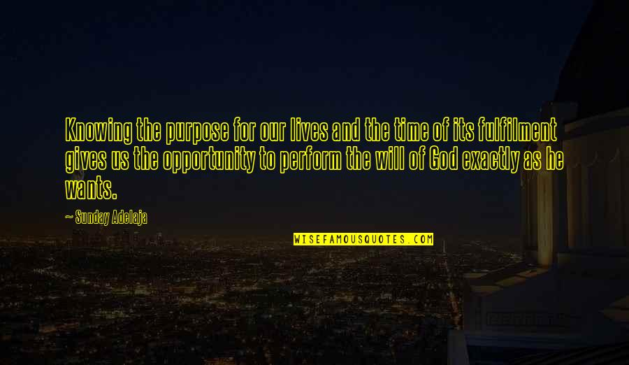 Fulfilment's Quotes By Sunday Adelaja: Knowing the purpose for our lives and the