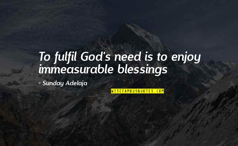 Fulfilment's Quotes By Sunday Adelaja: To fulfil God's need is to enjoy immeasurable