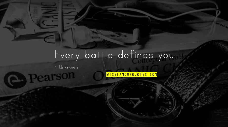 Fun Burger Quotes By Unknown: Every battle defines you