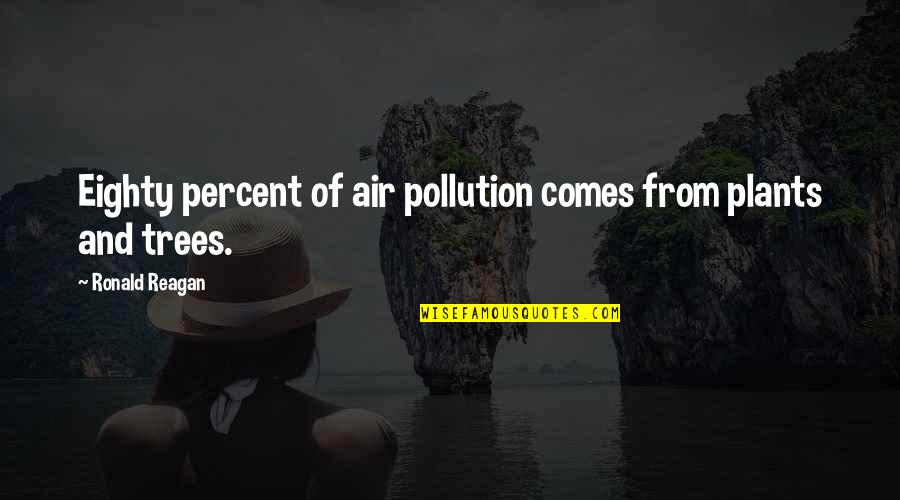 Fun Home Book Quotes By Ronald Reagan: Eighty percent of air pollution comes from plants