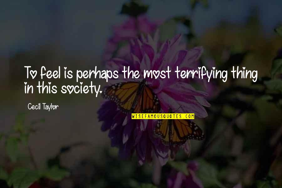 Fun Lovin Criminals Quotes By Cecil Taylor: To feel is perhaps the most terrifying thing