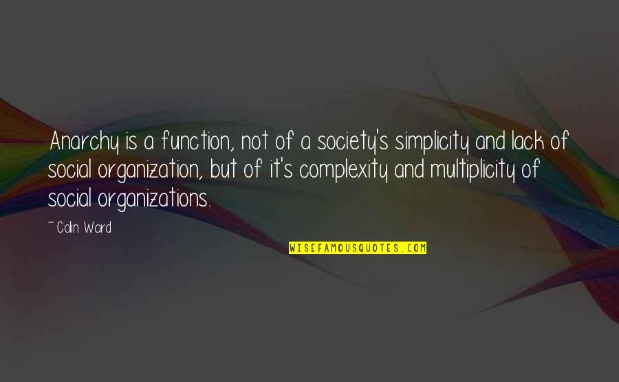 Function Of Quotes By Colin Ward: Anarchy is a function, not of a society's