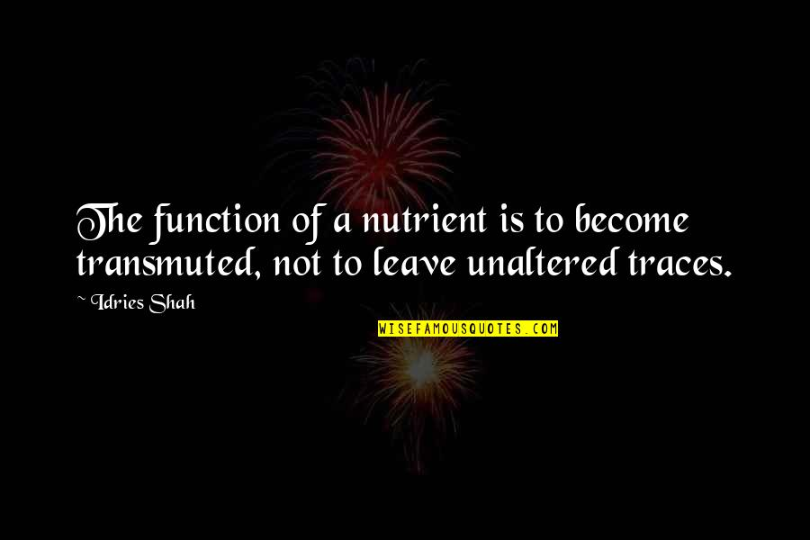 Function Of Quotes By Idries Shah: The function of a nutrient is to become