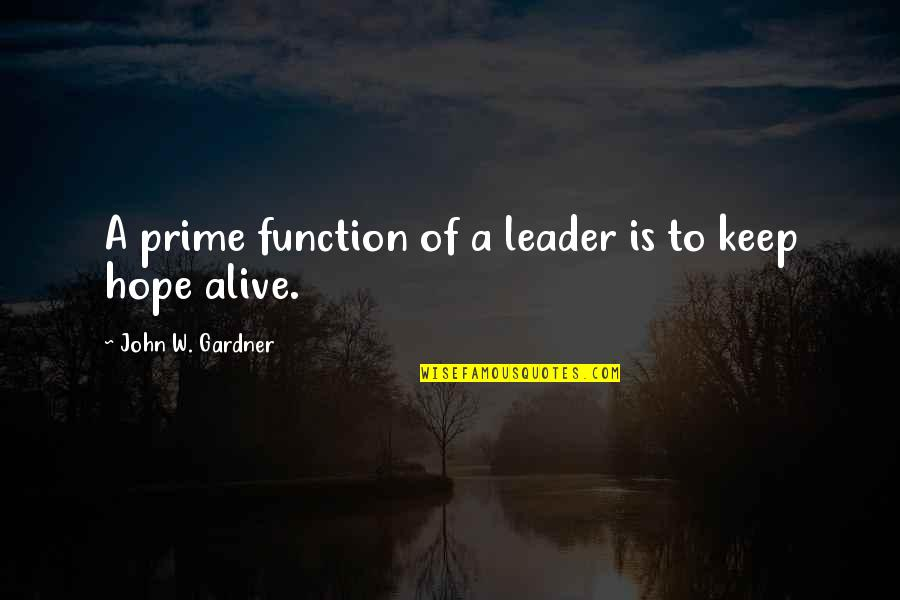Function Of Quotes By John W. Gardner: A prime function of a leader is to