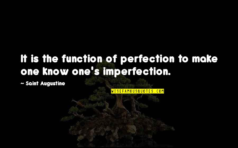 Function Of Quotes By Saint Augustine: It is the function of perfection to make