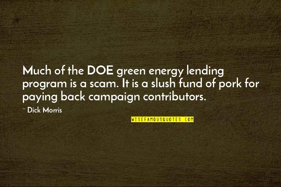 Fund Quotes By Dick Morris: Much of the DOE green energy lending program