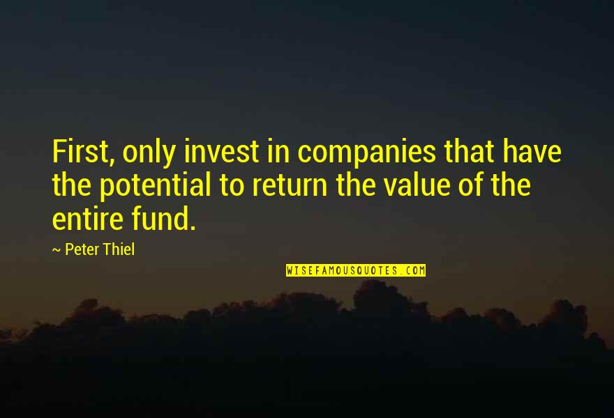 Fund Quotes By Peter Thiel: First, only invest in companies that have the